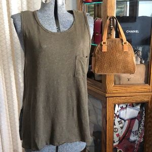 Lush Nubby Cotton Linen Blend Sleeveless Top M